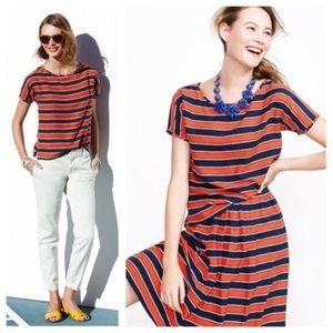 J. CREW Gondola Stripe Silk Short Sleeve Blouse 0